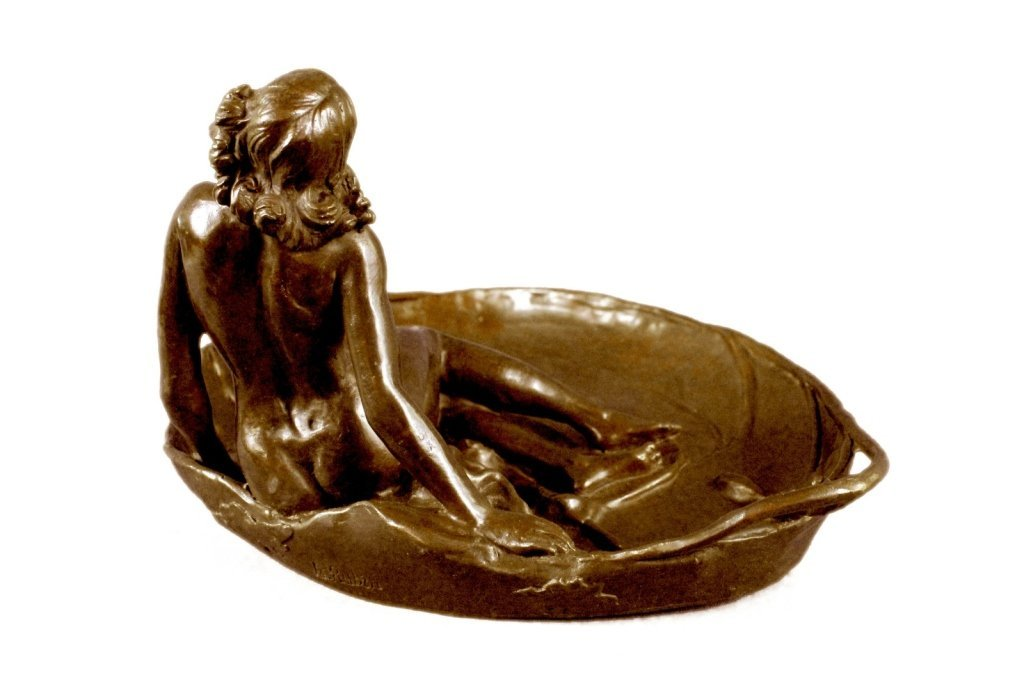 Art Nouveau Bronze, Nude Girl Lily Pad Dish Tray - 3