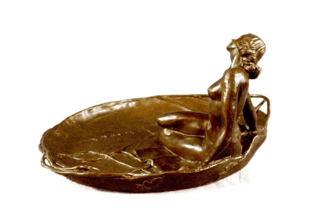Art Nouveau Bronze, Nude Girl Lily Pad Dish Tray - 4