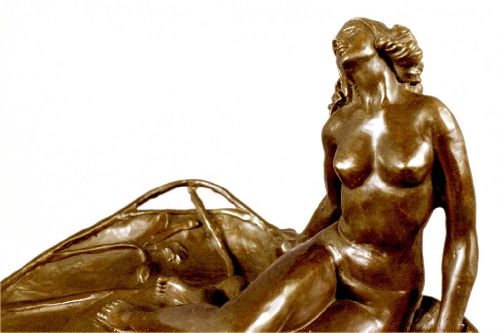 Art Nouveau Bronze, Nude Girl Lily Pad Dish Tray - 6