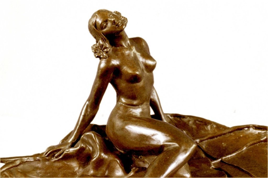 Art Nouveau Bronze, Nude Girl Lily Pad Dish Tray - 7