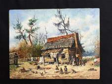 Student Of W. A. Walker, Old Cabin, Oil Painting