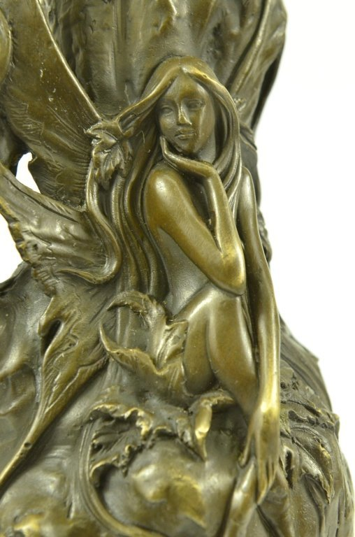 Art Nouveau Bronze Butterfly Fairy Vase - 5