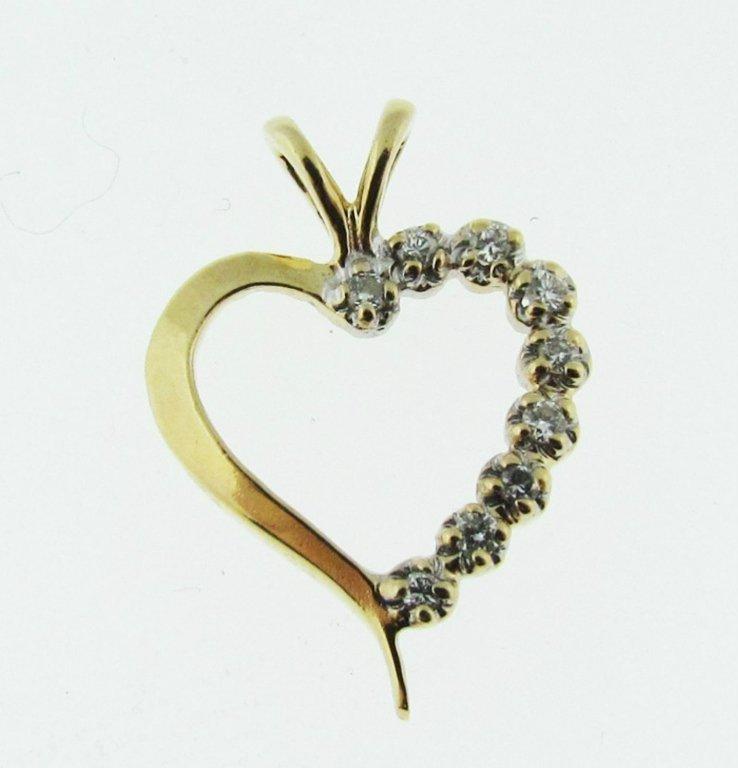 14kt Gold & Diamond Heart Pendant - 2