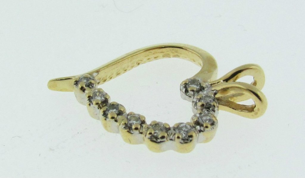 14kt Gold & Diamond Heart Pendant - 3
