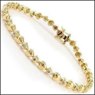 Gold & Diamond Hearts Tennis Bracelet