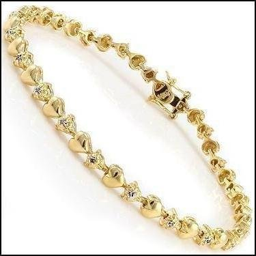 Gold & Diamond Hearts Tennis Bracelet