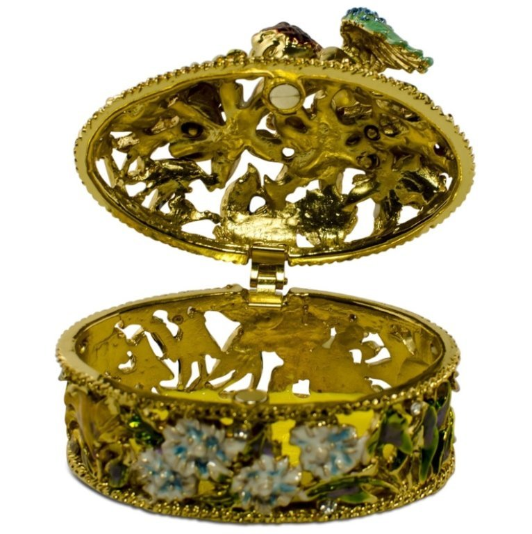Golden Cherub Enamel Crystal Jewelry Box - 2