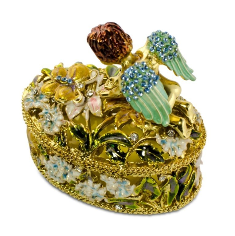 Golden Cherub Enamel Crystal Jewelry Box - 3