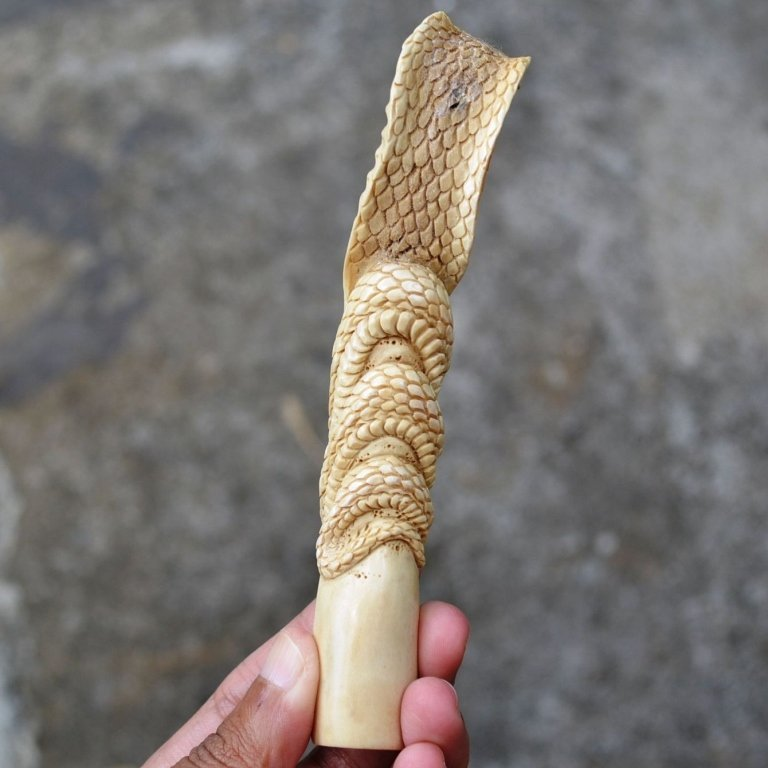 Carved Antler, Cobra Snake Knife Dagger Handle - 6