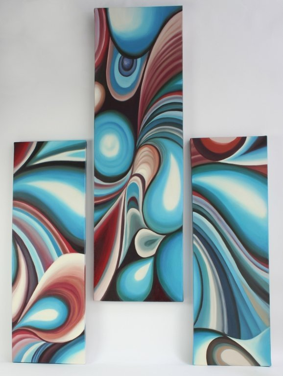 Signed Multi Canvas Modern Abstract Art Paintings