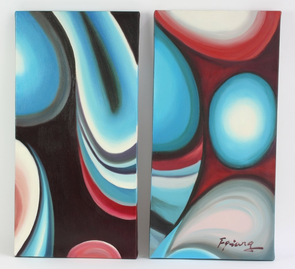 Signed Multi Canvas Modern Abstract Art Paintings - 2