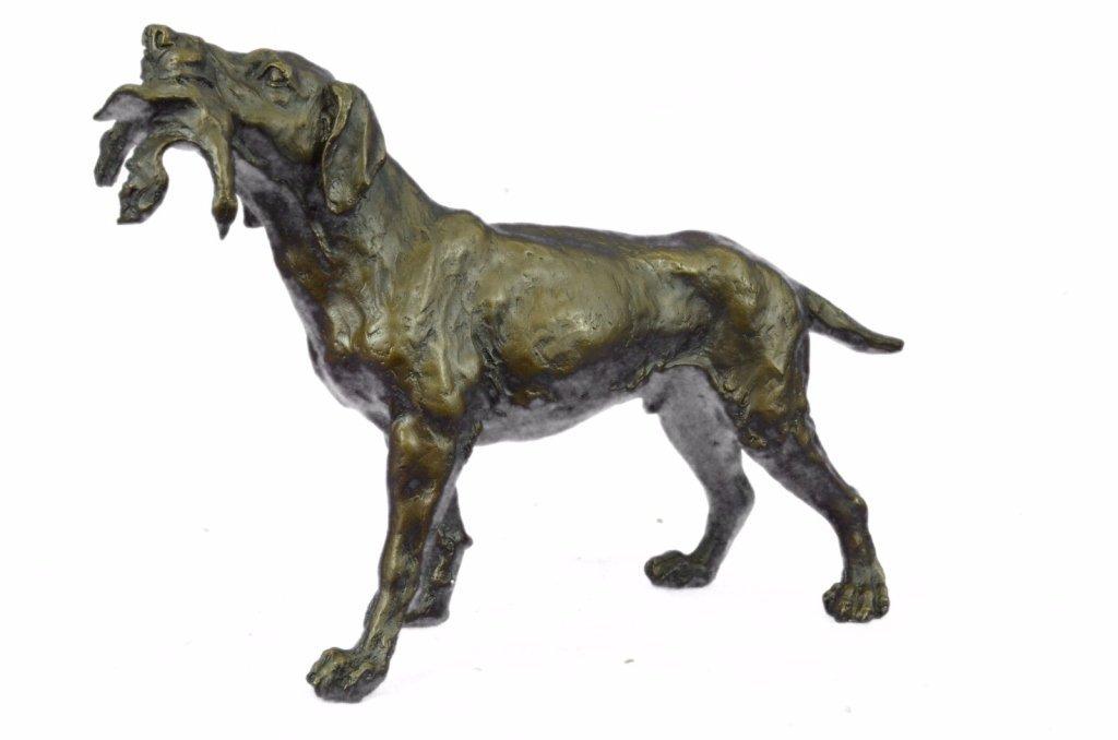 After Truffot, Hunting Dog & Bird Bronze Sculpture