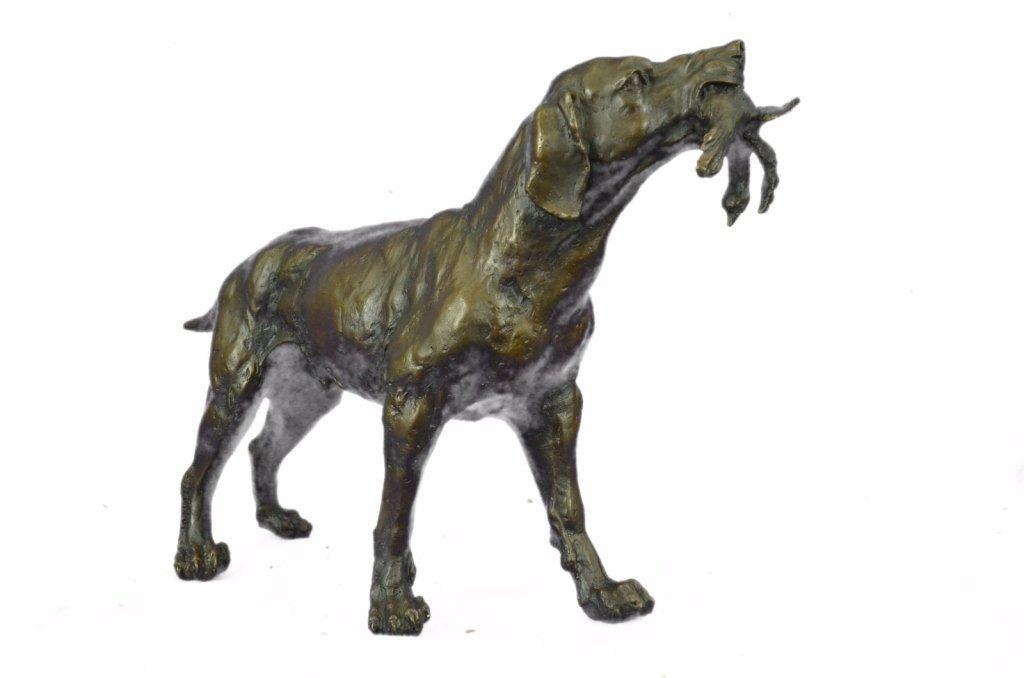 After Truffot, Hunting Dog & Bird Bronze Sculpture - 2