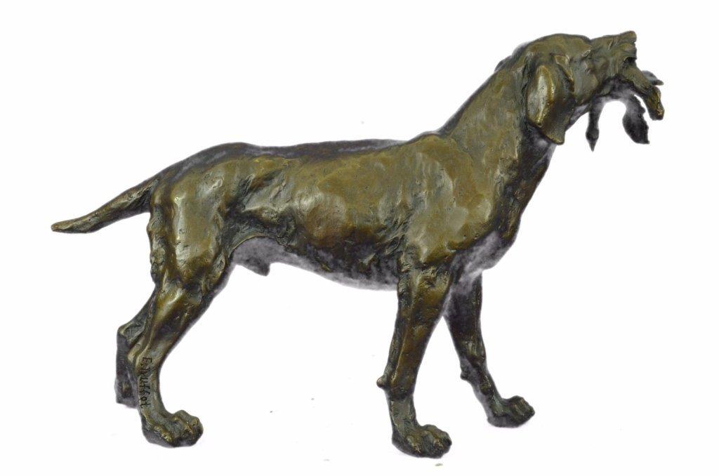 After Truffot, Hunting Dog & Bird Bronze Sculpture - 3