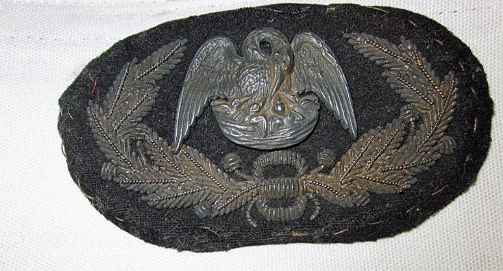 RARE! Confederate Louisiana General's Hat Insignia
