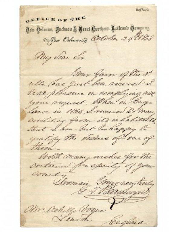 1868 General P. G. T. Beauregard Signed Letter