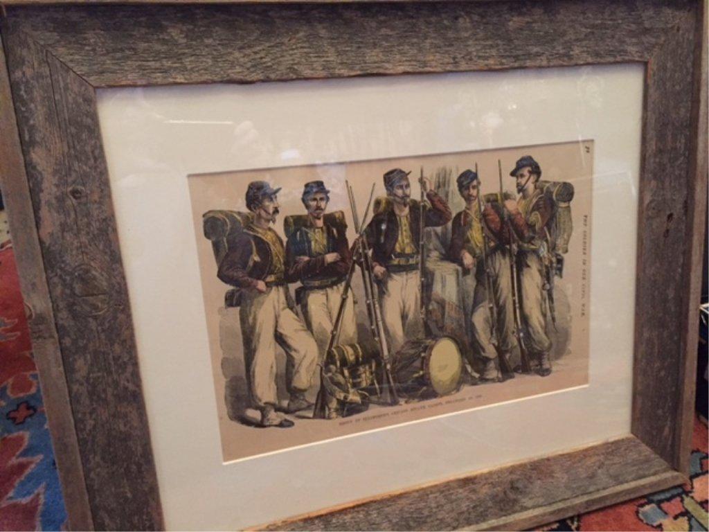 19thc Hand-colored Civil War Framed Print, Zouaves