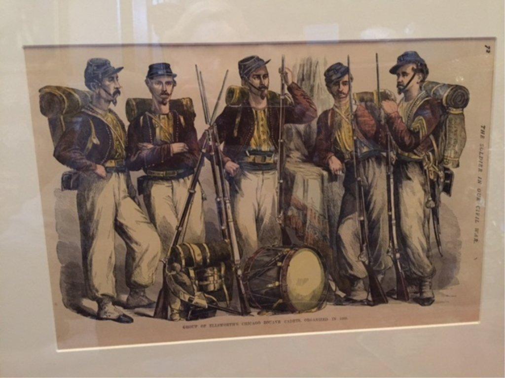 19thc Hand-colored Civil War Framed Print, Zouaves - 2