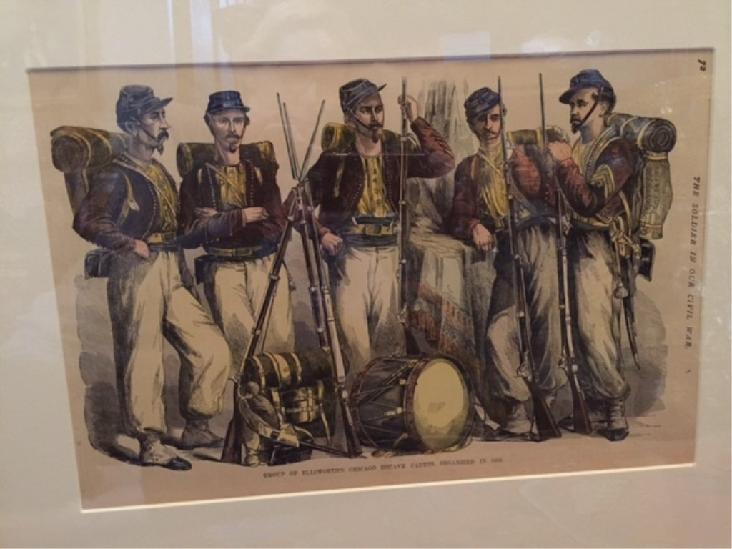 19thc Hand-colored Civil War Framed Print, Zouaves - 3
