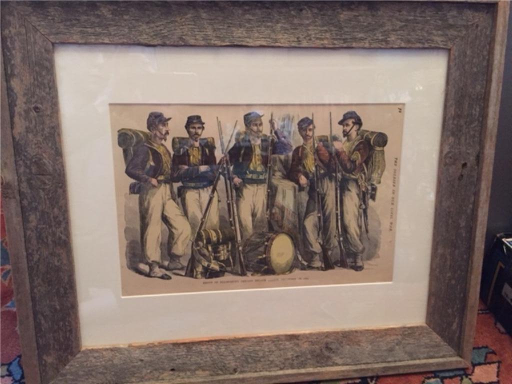 19thc Hand-colored Civil War Framed Print, Zouaves - 4