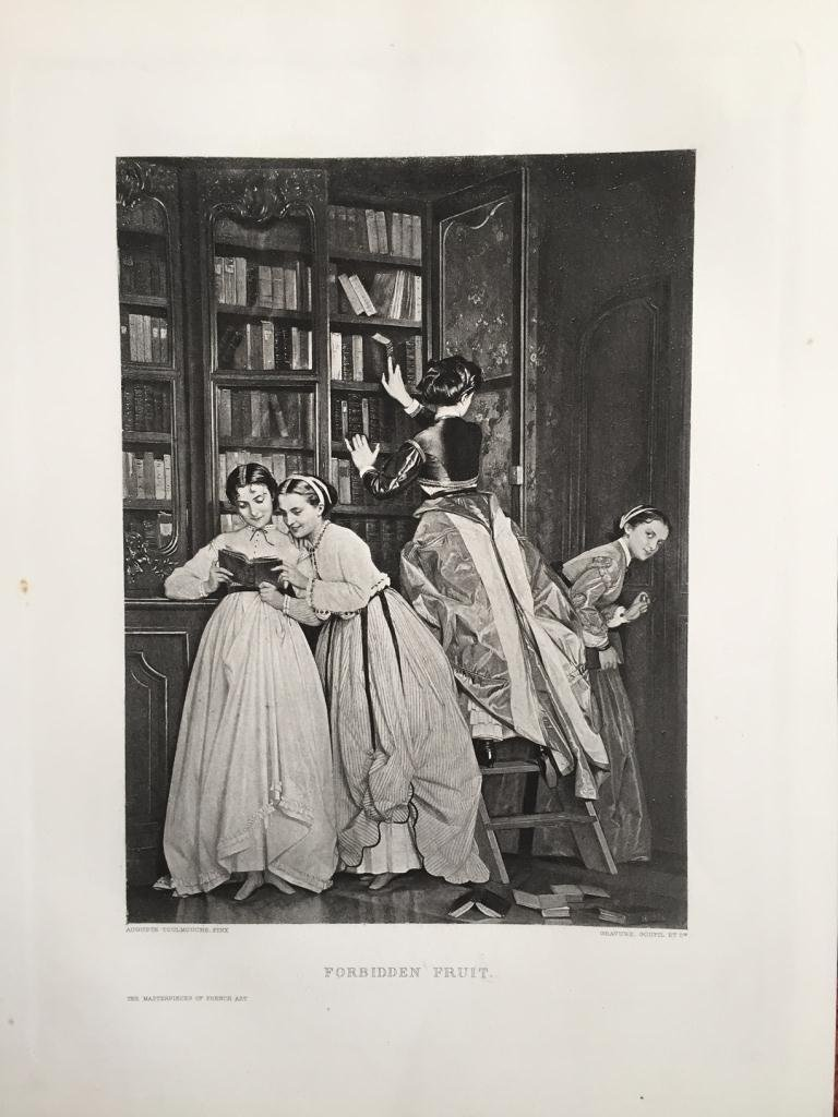 c1880's Photogravure Print, Ladies in a Library
