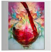 Oil Painting, Still Life, Red Wine Into Glass