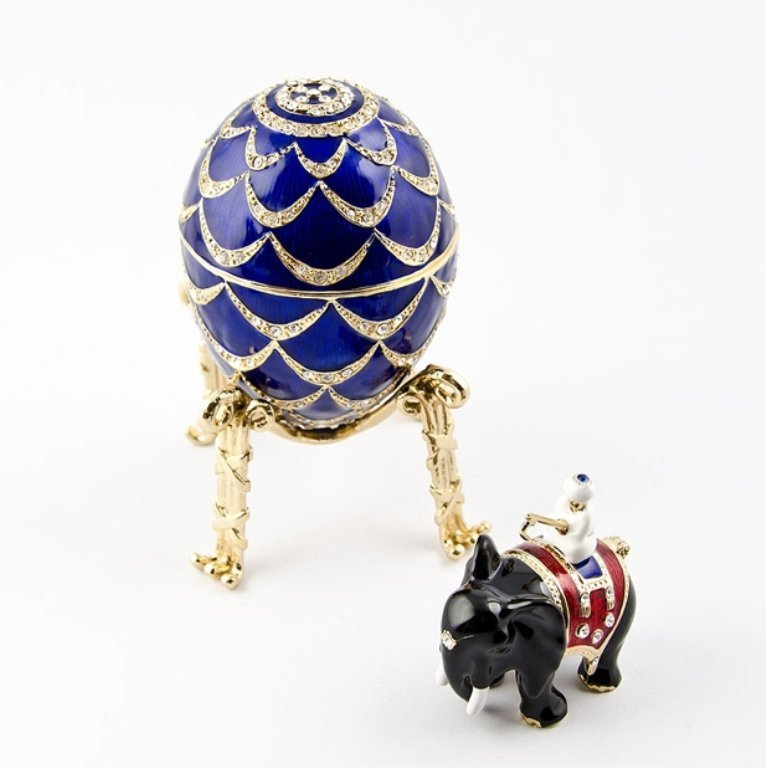 Faberge Inspired Indian Pine Cone Trinket Box Egg
