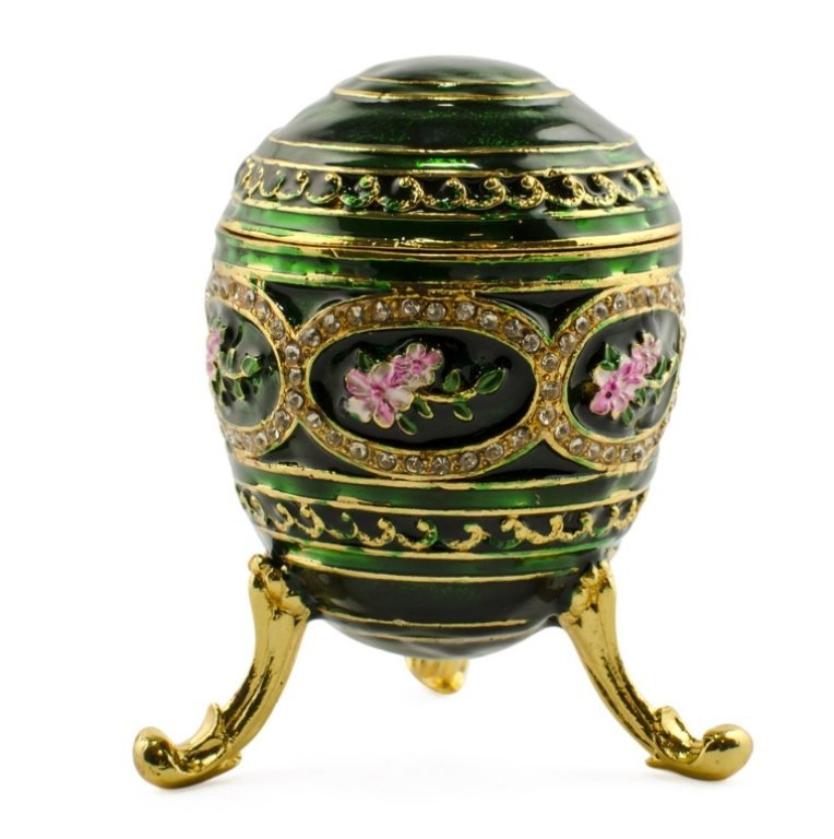Floral Faberge Inspired Jewel Trinket Box Egg