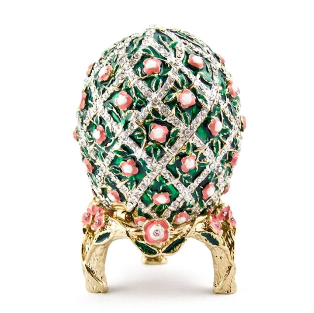 Faberge Inspired Rose Lattice Trinket Box Egg