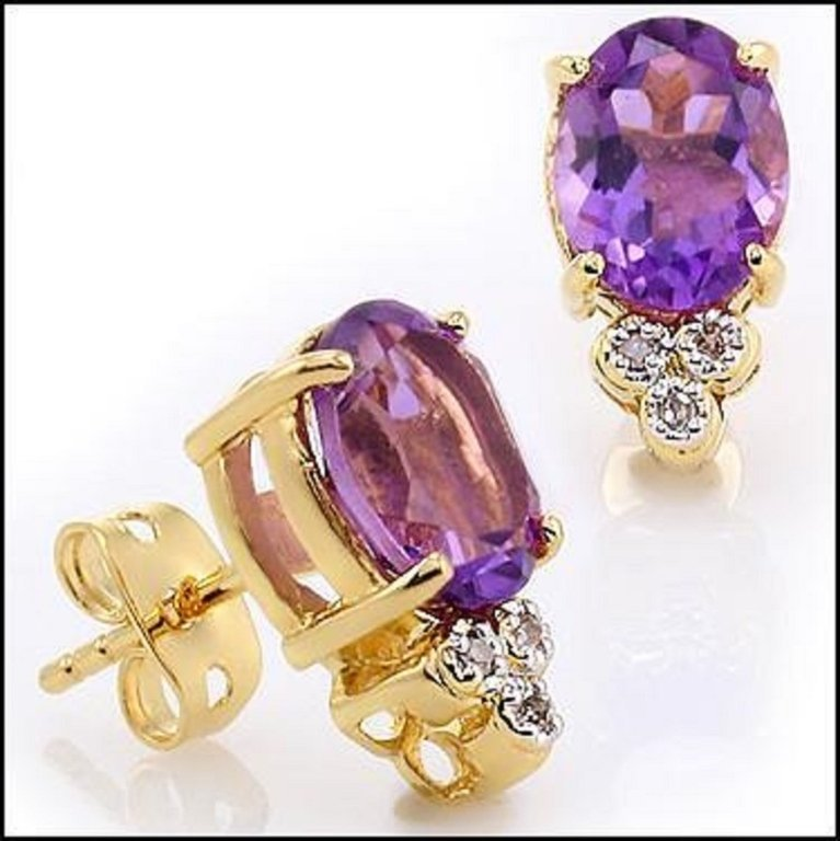 3.44ct Purple Amethyst, Diamond Earrings