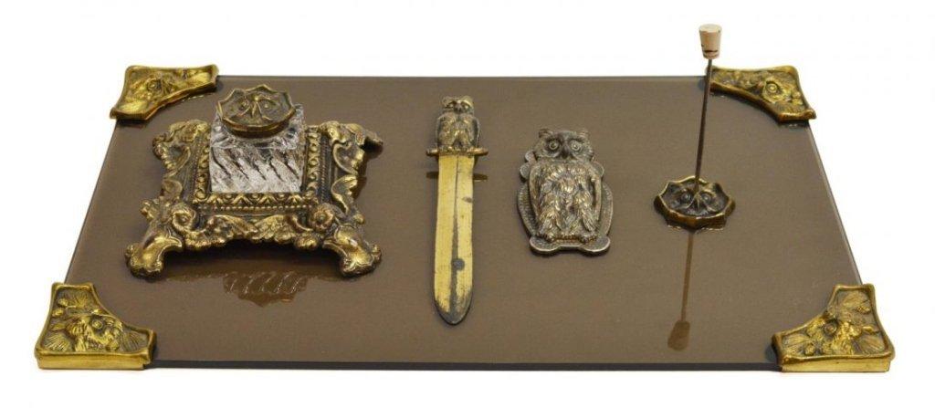 Art Nouveau Cast Iron Owl Desk Set