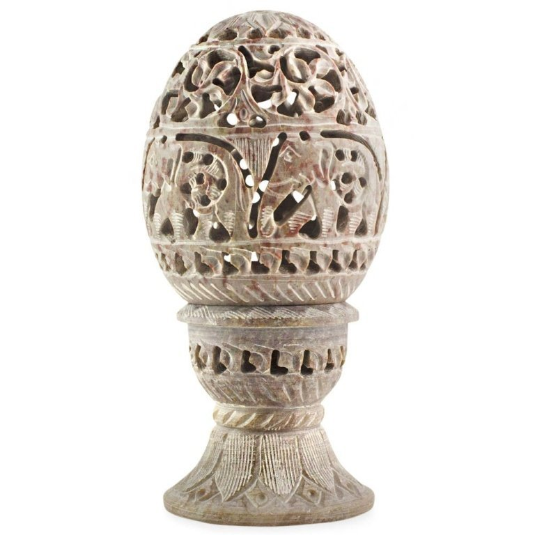 Hand-carved Elephant Stone Egg & Stand