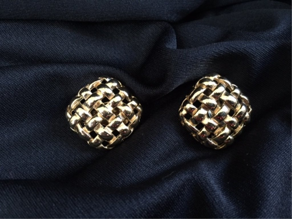 Vintage Givenchy Basket Weave Gold Clip Earrings