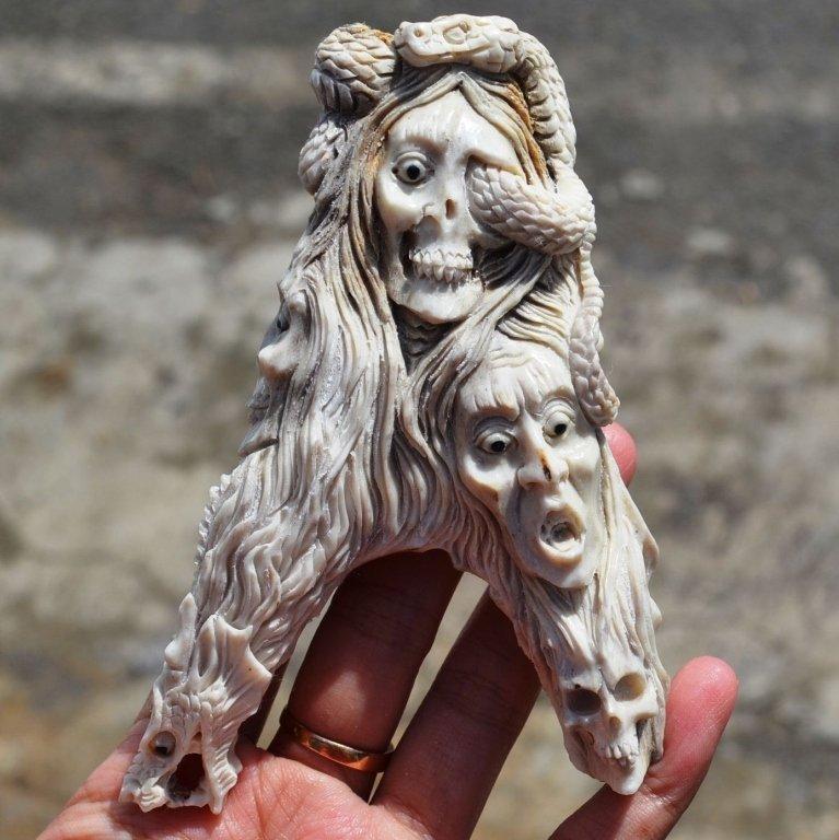 Carved Antler, Tortured Spirit Ghost Cane Handle