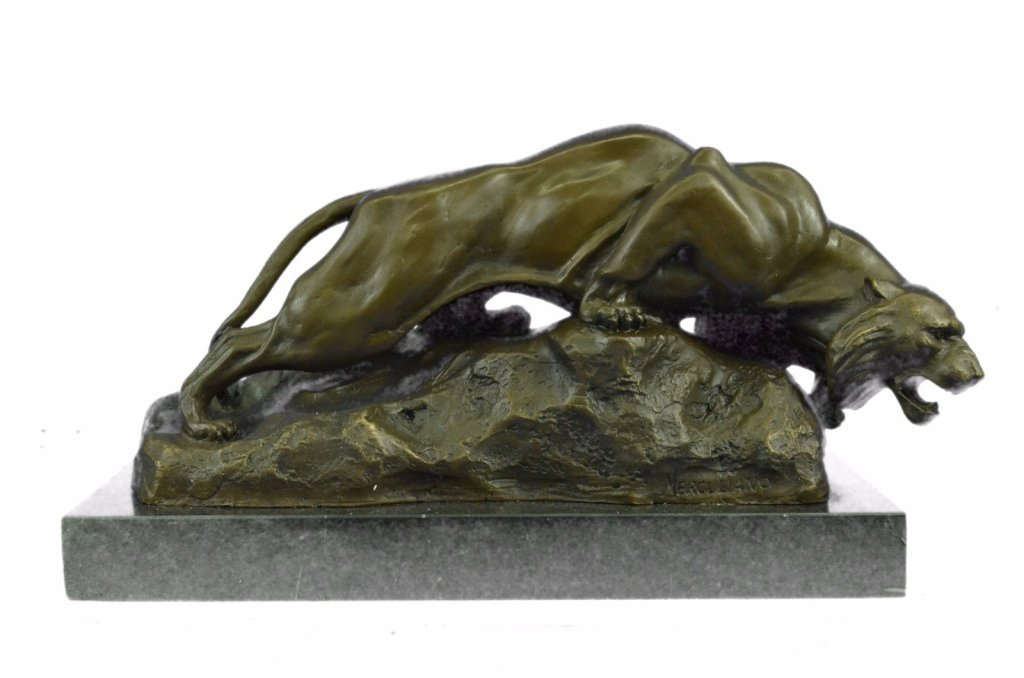 Signed Bronze Mountain Lion Bronze Sculpture