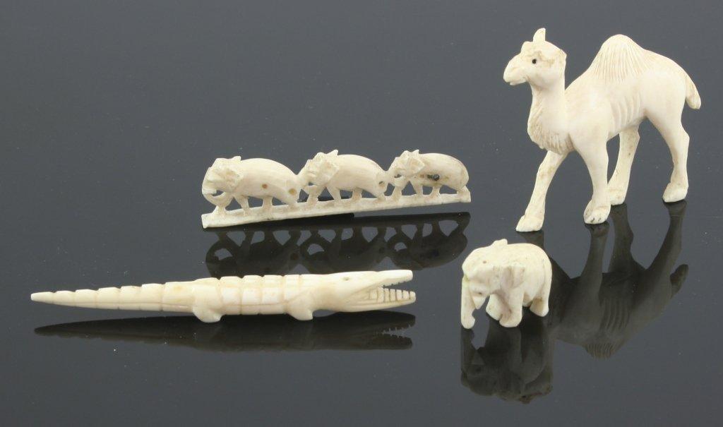 19thc Miniature Ivory Animal Carvings Set