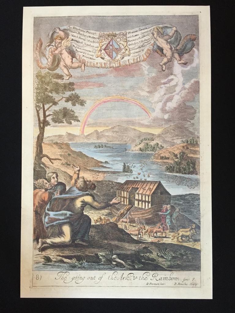Machine Colored Print, Noah's Ark & Rainbow