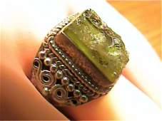 4ct Moldavite Meteorite  Sterling Ring