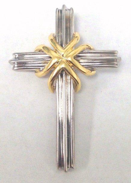 Tiffany & Co 18kt Gold & Sterling Cross Pendant