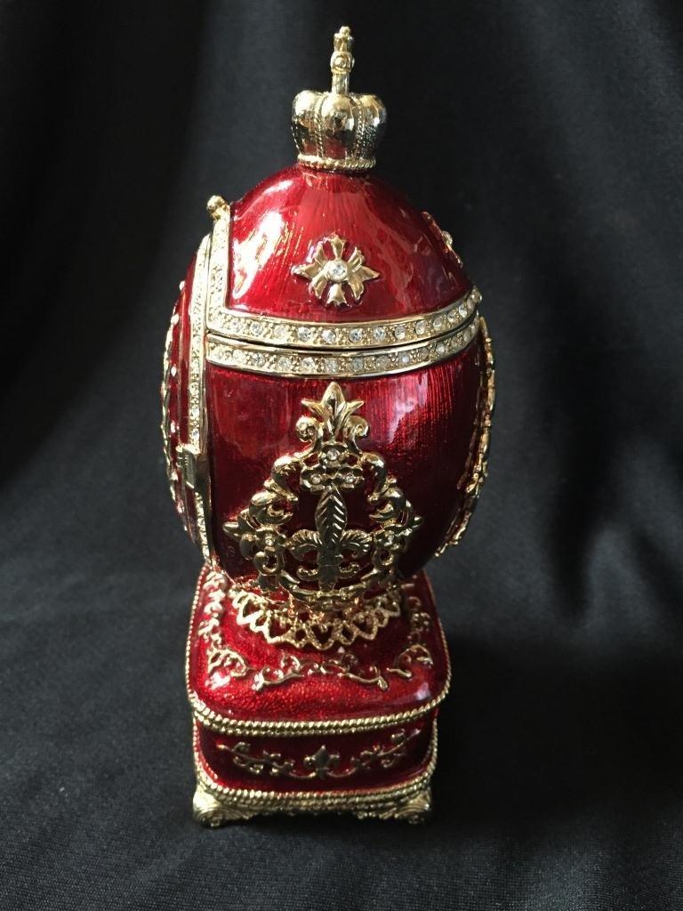 Faberge Inspired Guilloche Egg Frame Jewel Box - 4