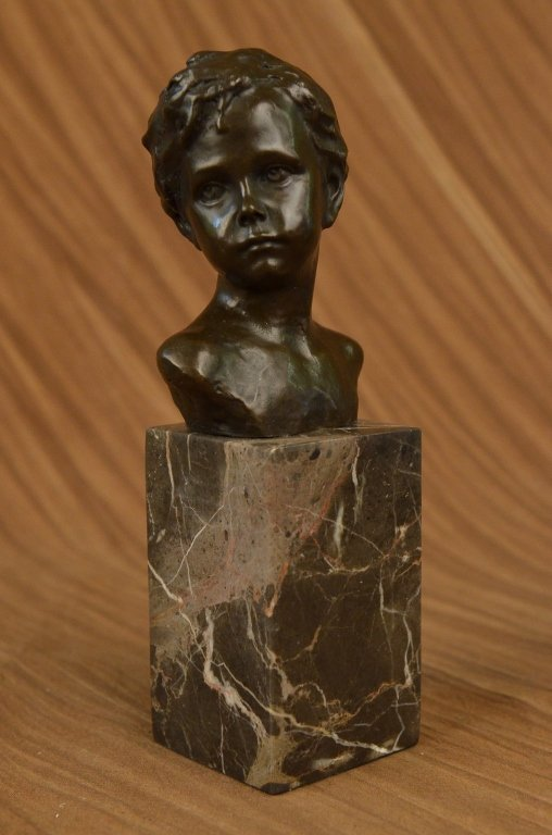 Little Boy Bronze Bust Sculpture