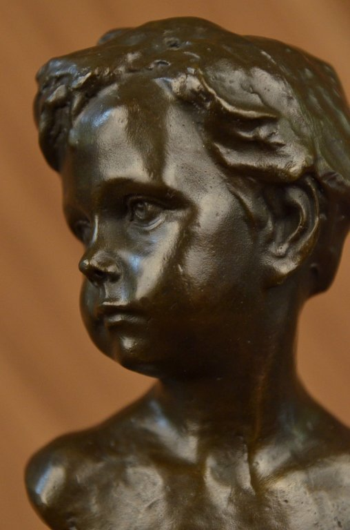 Little Boy Bronze Bust Sculpture - 2