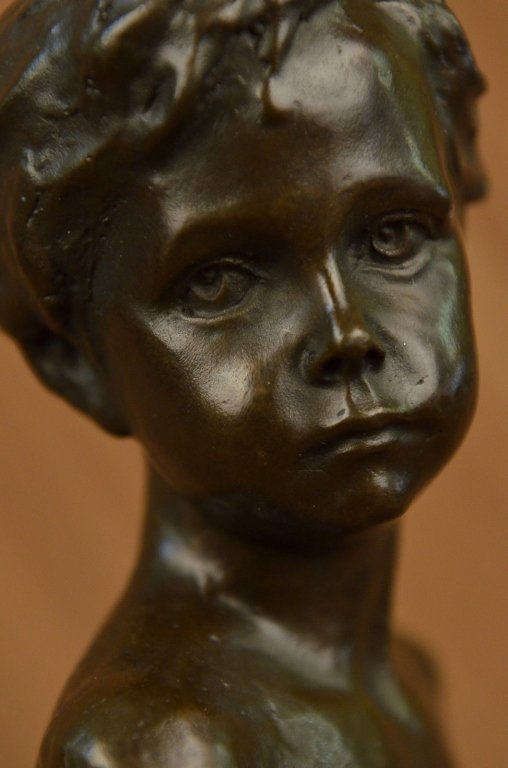 Little Boy Bronze Bust Sculpture - 4