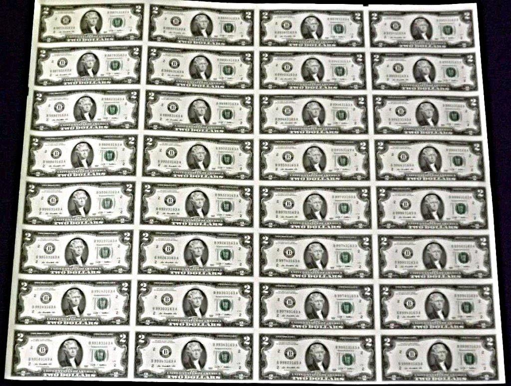 Rare, Mint Uncut Sheet, $2 Federal Reserve Notes