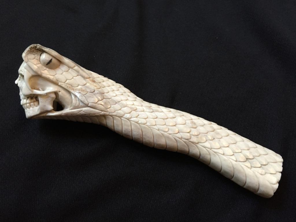 Carved Antler Snake & Skull Cane Handle