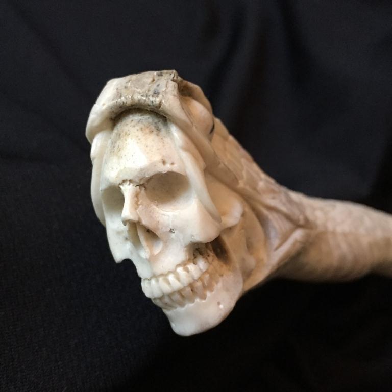 Carved Antler Snake & Skull Cane Handle - 3