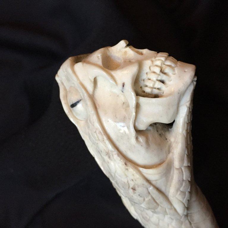 Carved Antler Snake & Skull Cane Handle - 4