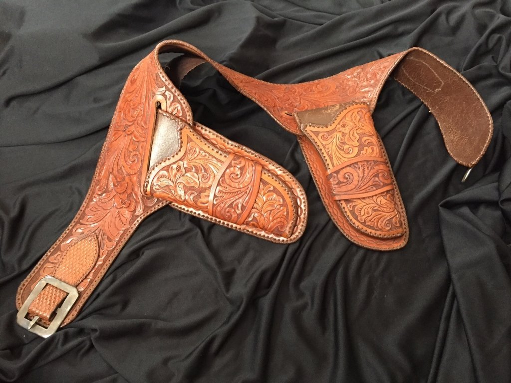 Colt Double Holstered Gun Belt with Silver Buckle