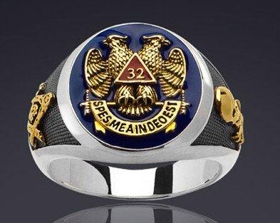 Men's Sterling Masonic Signet Ring - 2