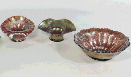 Set of 3 Carnival Glass Bowls, Candy Dishes